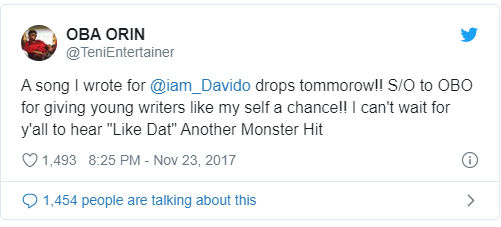 Which song did Teni write for Davido