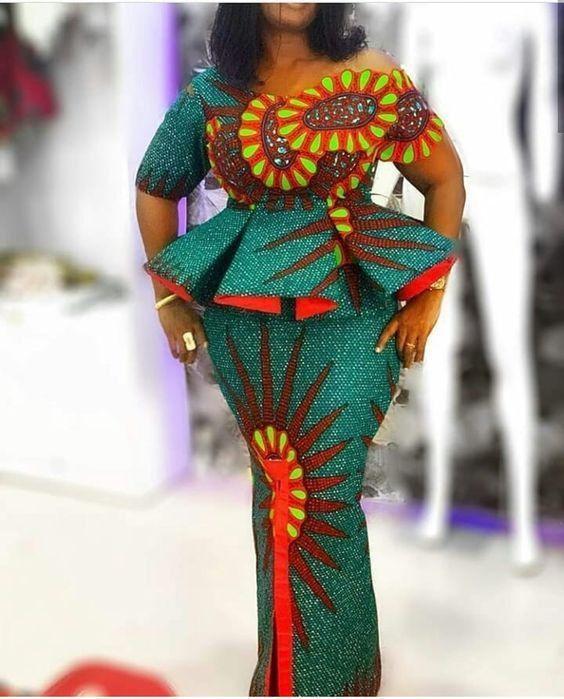 Skirt and Flare Blouse Ankara Style