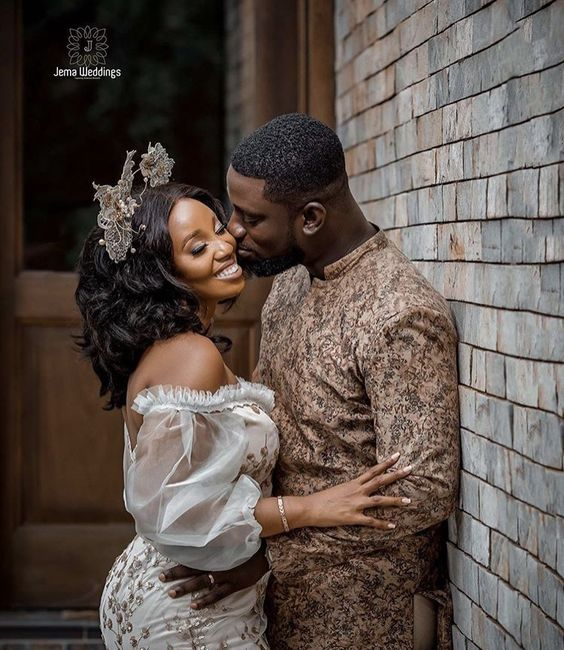 Lace Combine Ankara Couple outfit
